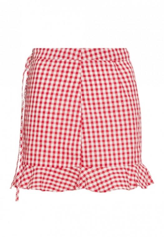 Delphine Plaid Skirt in Red alternate img #7
