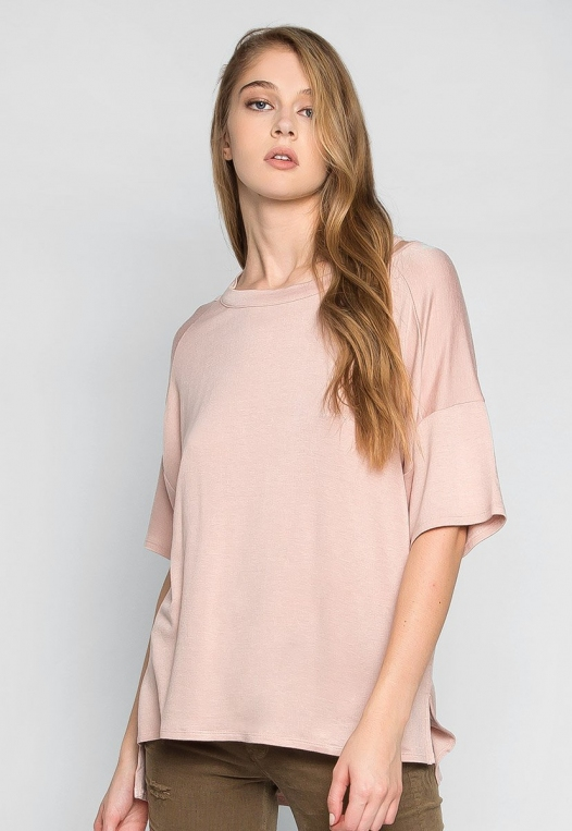 Happy Day Cut Out Knit Top in Peach alternate img #1