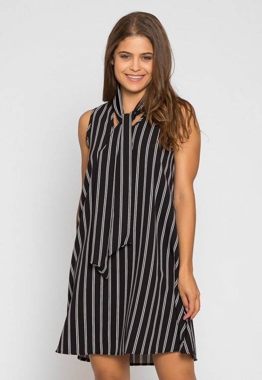 Flirty Girl Tie Neck Dress in Black alternate img #3