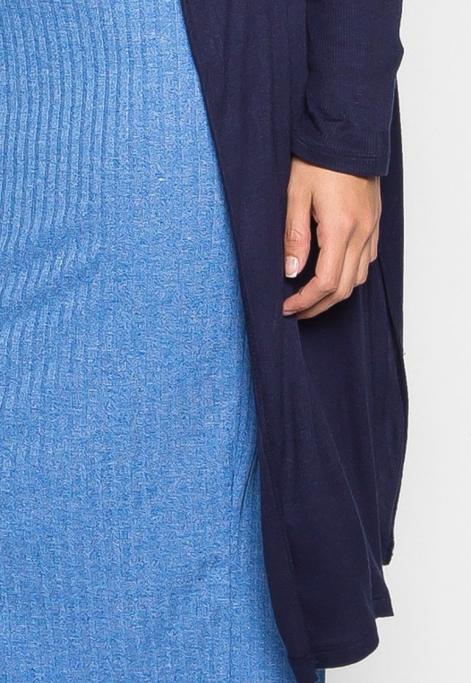 Plus Size Lucky Girl Open Front Cardigan in Navy alternate img #6
