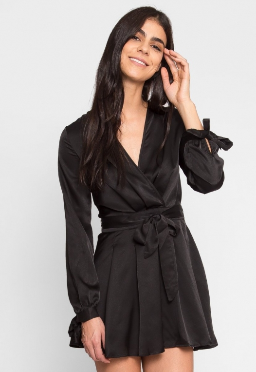 Clean Slate Satin Fit and Flare Dress alternate img #1