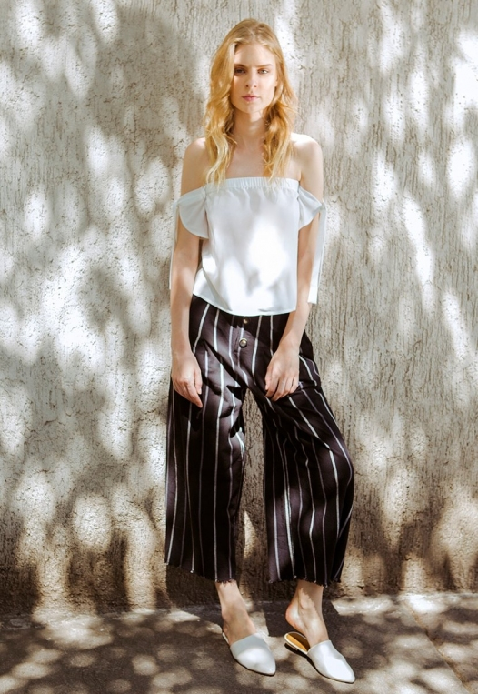 Granada Button Front Stripe Culottes alternate img #1