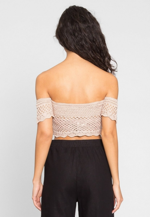 Puerto Crochet Off Shoulder Crop Top in Blush alternate img #3
