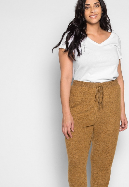 Plus Size Confetti Ribbed Side Joggers in Mustard alternate img #5