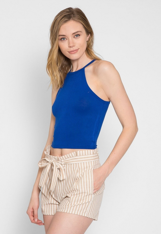 Canyon Halter Crop Top in Blue alternate img #4