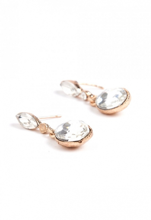 Drop Rhinestone Earrings in Gold alternate img #1