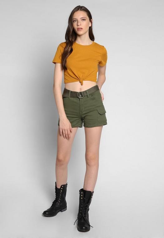 90s Girls Knot Front Crop Top in Mustard alternate img #4