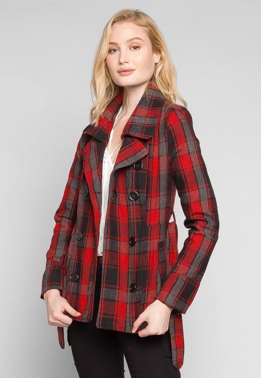 Autumn Belted Plaid Coat alternate img #3