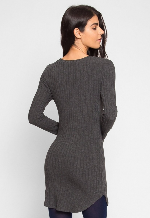 Ashton Ribbed Bodycon Dress in Charcoal alternate img #4