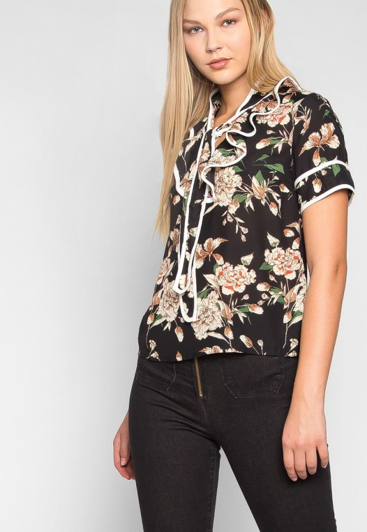 All I Need Floral Tie Neck Blouse alternate img #5