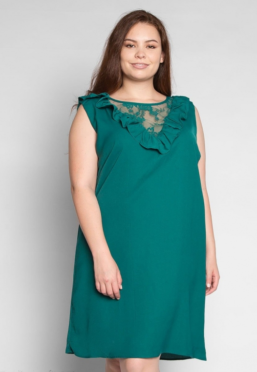 Plus Size Lavender Fields Ruffle Mini Dress in Green alternate img #3