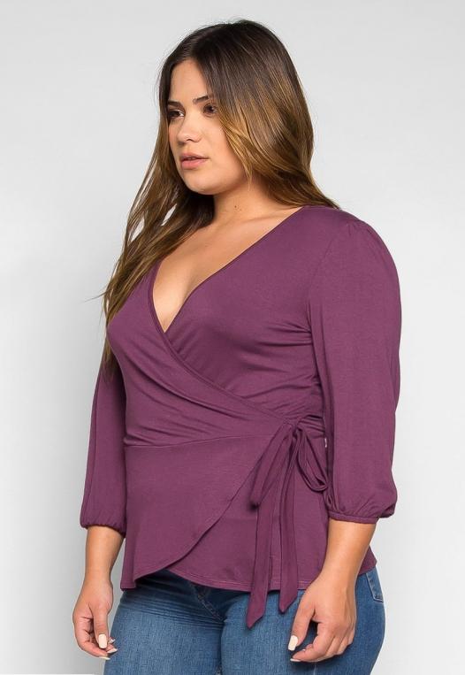 Plus Size Peony Self Tie Wrap Blouse in Purple alternate img #3