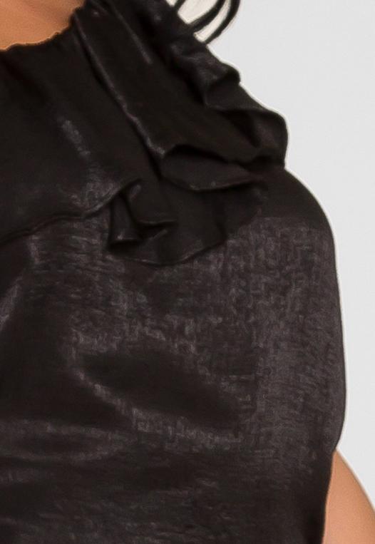 Plus Size Asymmetrical Satin Blouse in Black alternate img #6