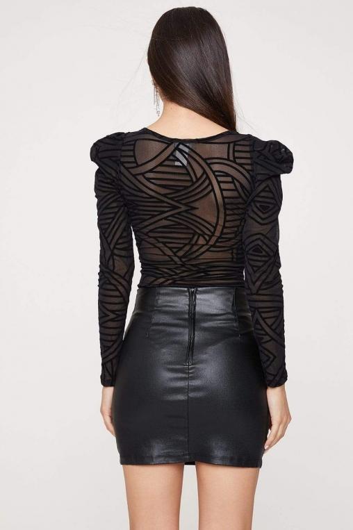 Sheer Geometric Print Puff Sleeve Bodysuit alternate img #4