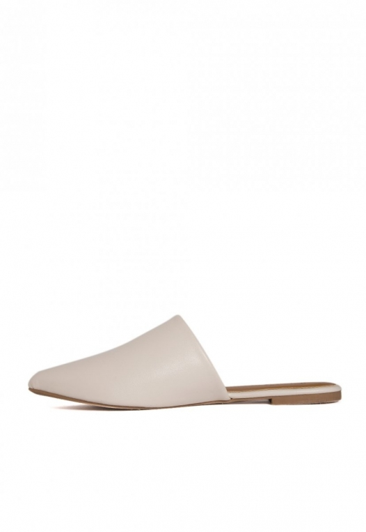 Faux Leather Mule Flats in Gray alternate img #2