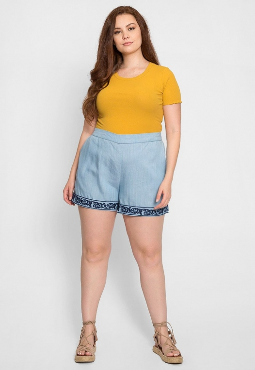 Plus Size Embroidered Shorts alternate img #5