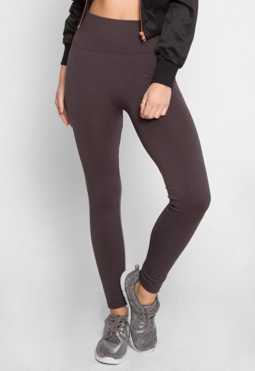 Cozy Fleece Lined Leggings in Gray alternate img #2
