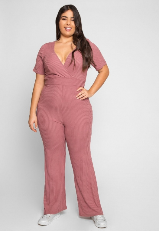 Plus Size Knit Jumpsuit in Pink alternate img #6