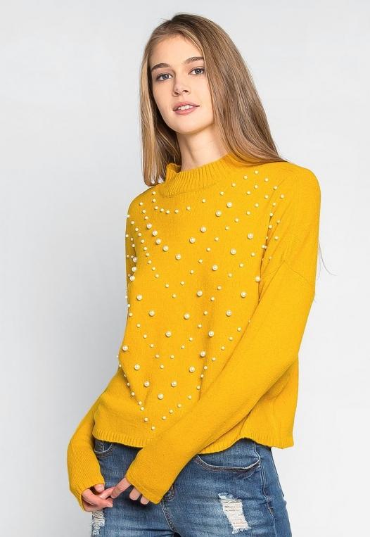 Pearl Embellished Mock Neck Sweater alternate img #1