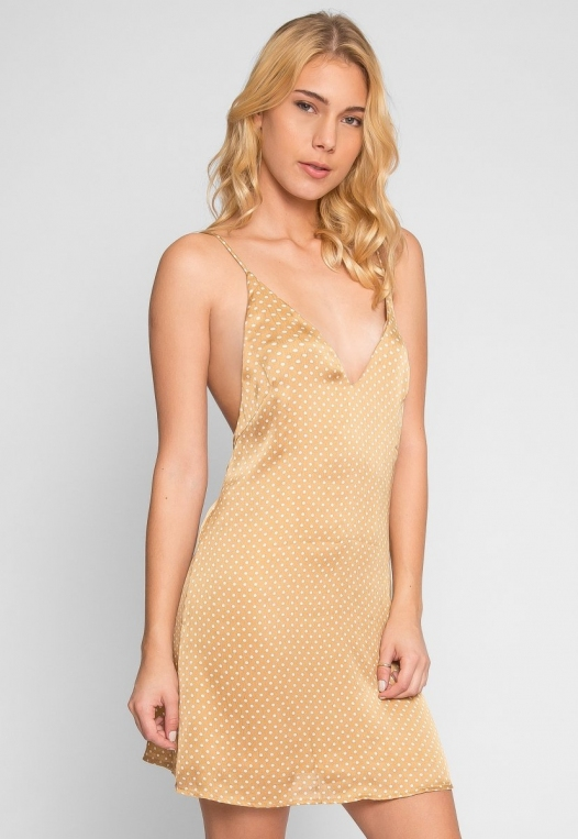 Nature Polka Dot Slip Dress in Gold alternate img #2