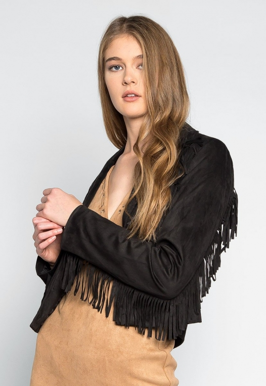 West Coast Fringe Faux Suede Jacket alternate img #3