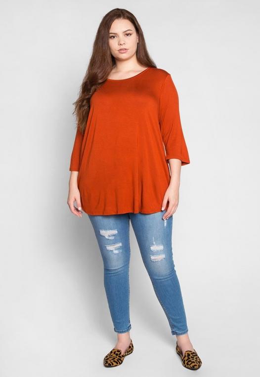 Plus Size Dolphin Hem Top in Orange alternate img #4
