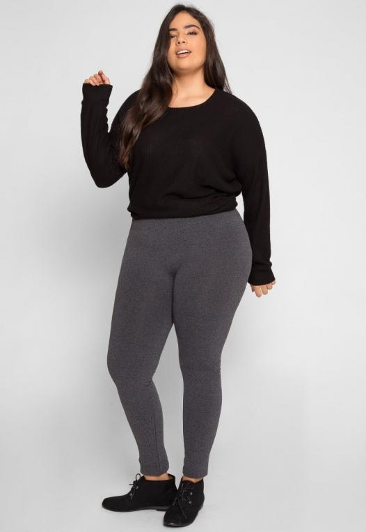 Plus Size High Waist Fleece Leggings in Charcoal alternate img #1