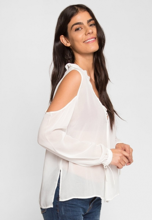 Exquisite Cold Shoulder Ruffle Top alternate img #2