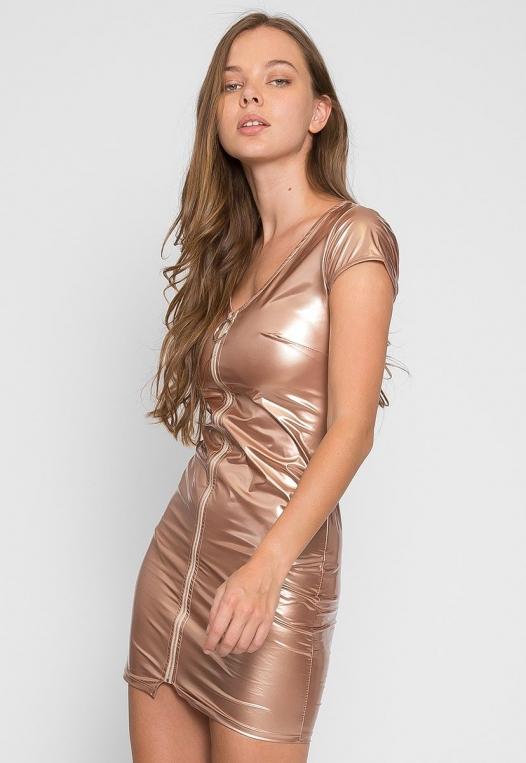 Metallic Zipper Front Dress alternate img #3