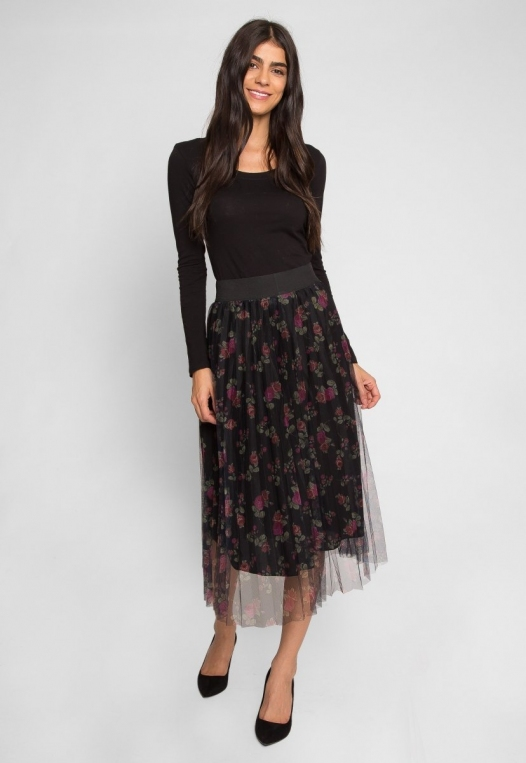 Party Pleated Mesh Floral Skirt alternate img #2