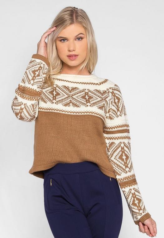 Explorers Geo Pattern Sweater in Brown alternate img #1