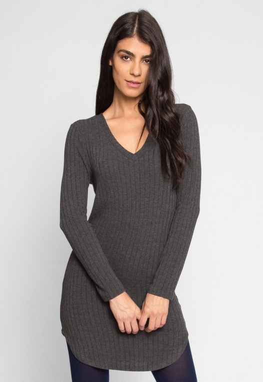 Ashton Ribbed Bodycon Dress in Charcoal alternate img #2