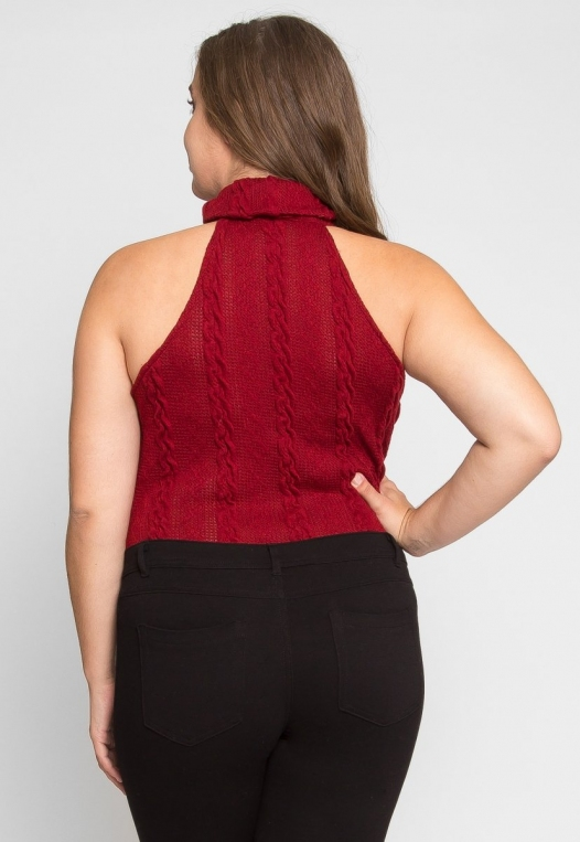 Plus Size Turtleneck Bodysuit in Burgundy alternate img #3