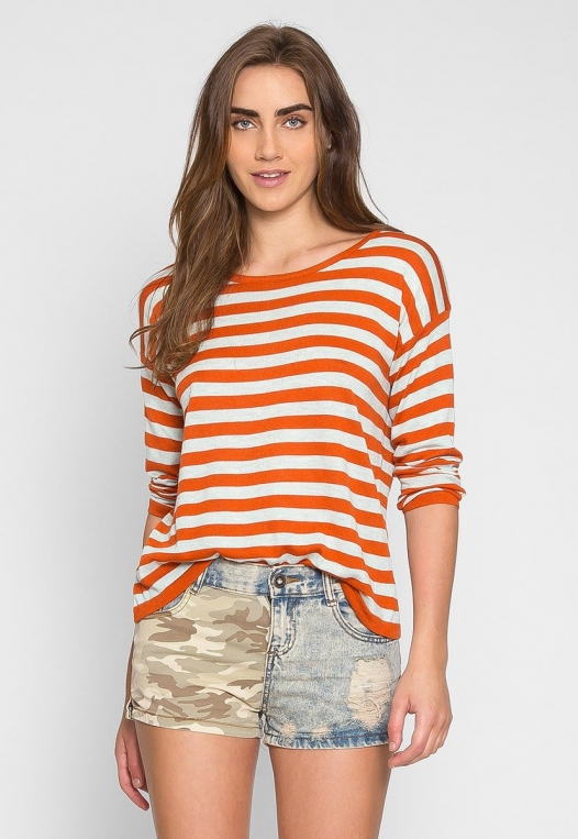 Grand Prize Stripe Sweater Top in Orange alternate img #3