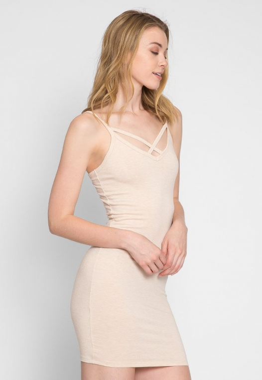 Day Out Knit Bodycon Dress in Beige alternate img #5