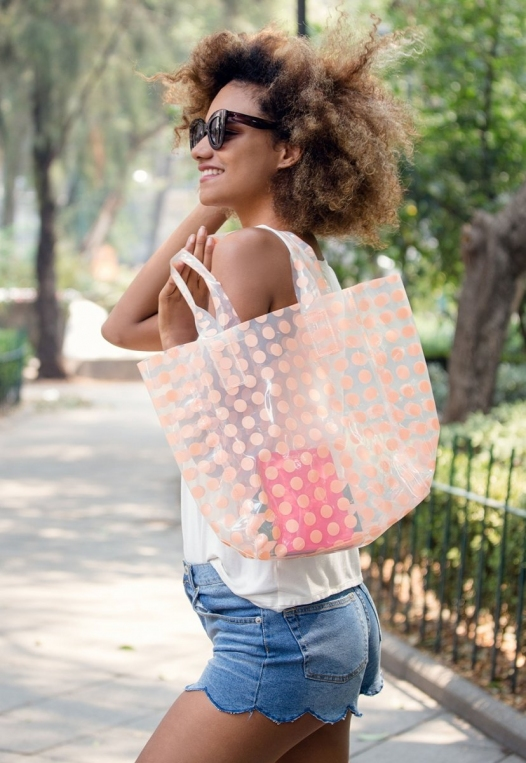 Printed Transparent Tote in Coral alternate img #1
