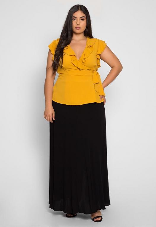 Plus Size Remember Me Wrap Blouse in Mustard alternate img #4