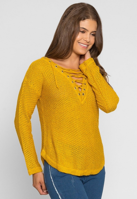 April Lace Up Sweater in Mustard alternate img #1