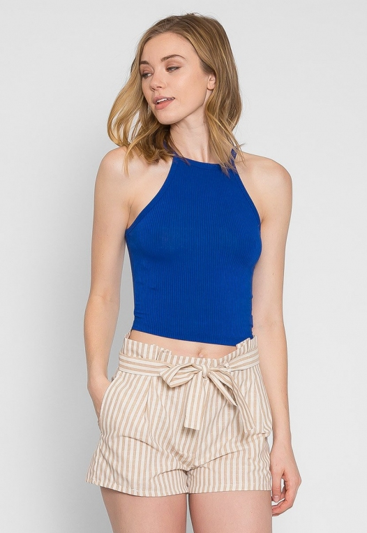 Canyon Halter Crop Top in Blue alternate img #3