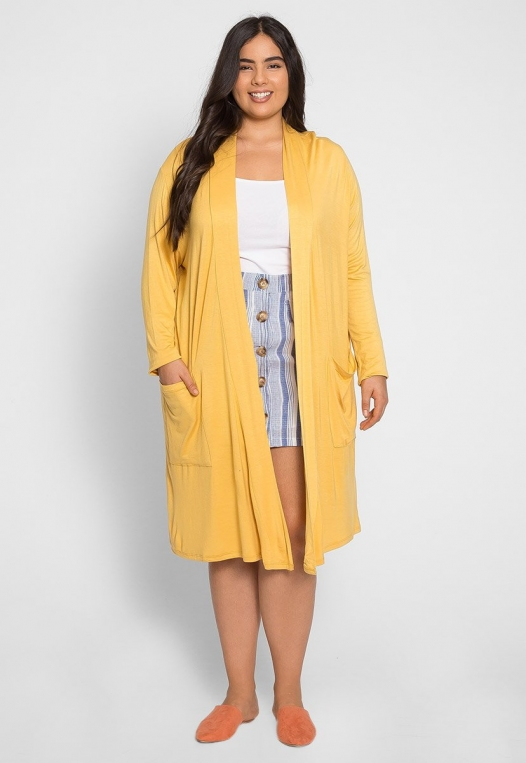 Plus Size Catalena Longline Cardigan in Yellow alternate img #5