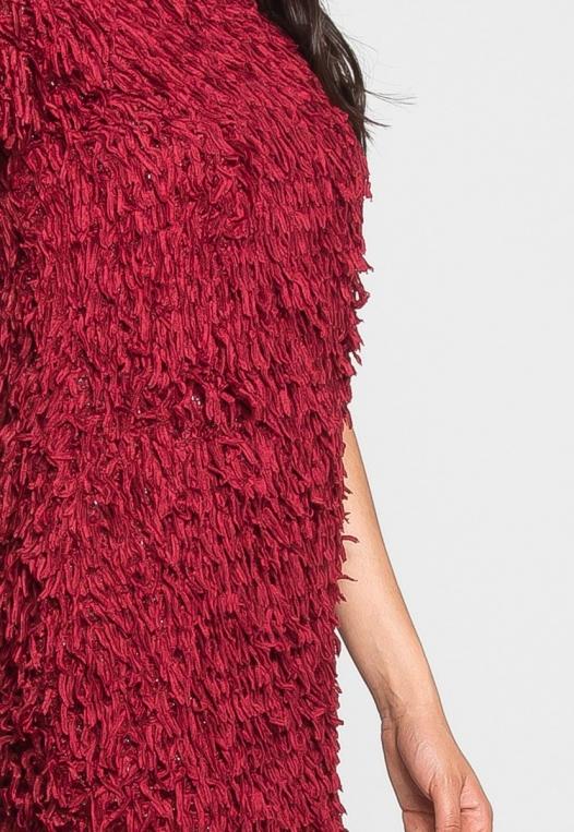 Roaring Fringe Dress in Wine alternate img #6