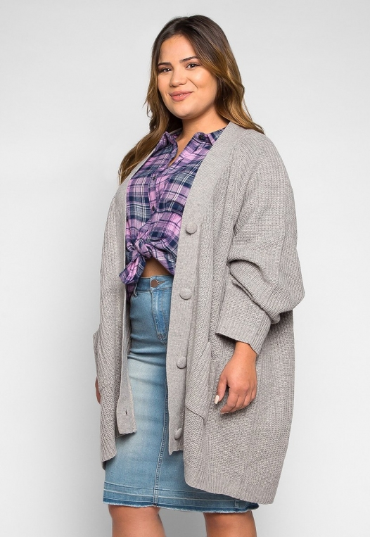 Plus Size Lila Oversized Button Front Cardigan alternate img #3