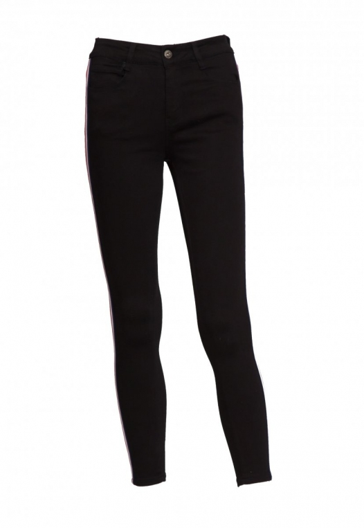 Varsity Trim Skinny Jeans in Black alternate img #8