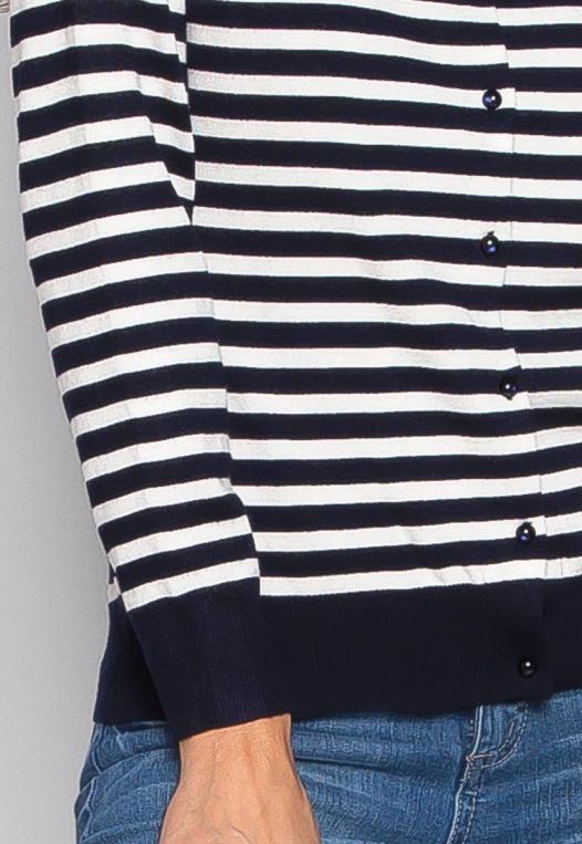 Black & White Thin Stripe Button Up Cardigan alternate img #6