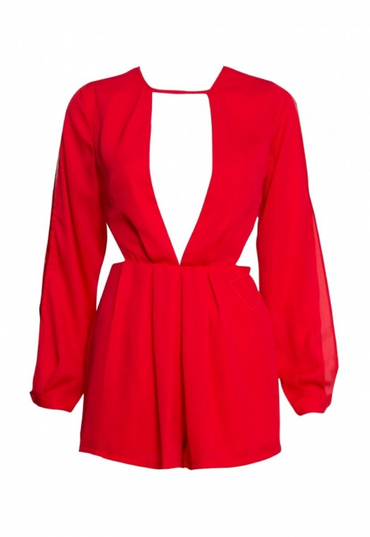Long Sleeve Cut Out Romper in Red alternate img #7