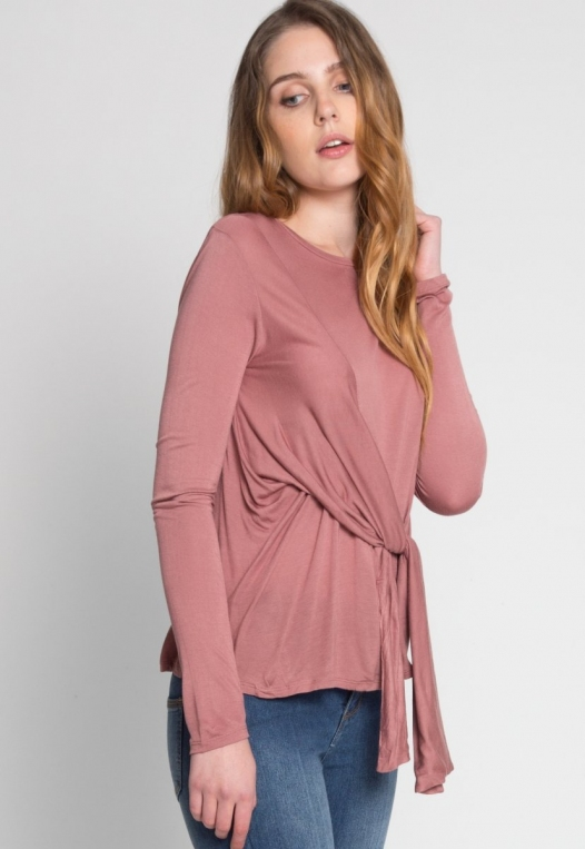 Monday Morning Jersey Knit Top in Mauve alternate img #3