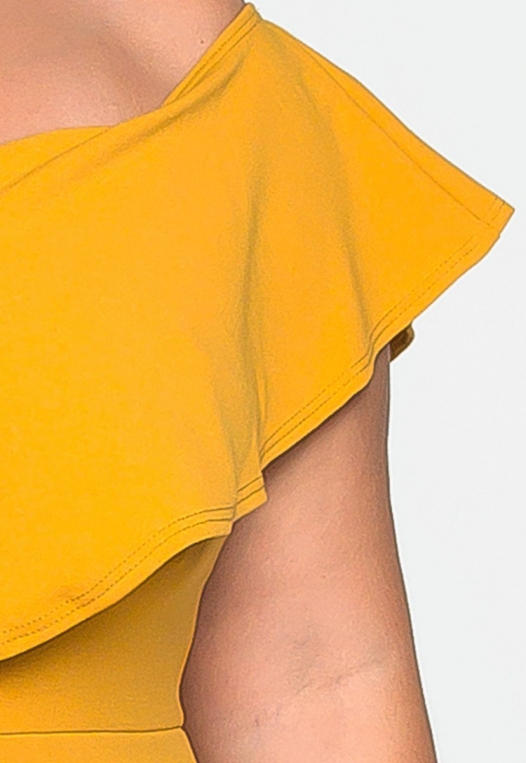 Plus Size Heartbeat Foldover Dress in Mustard alternate img #6