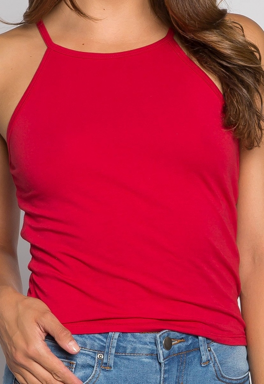 Lina Basic Tank Top in Red alternate img #6