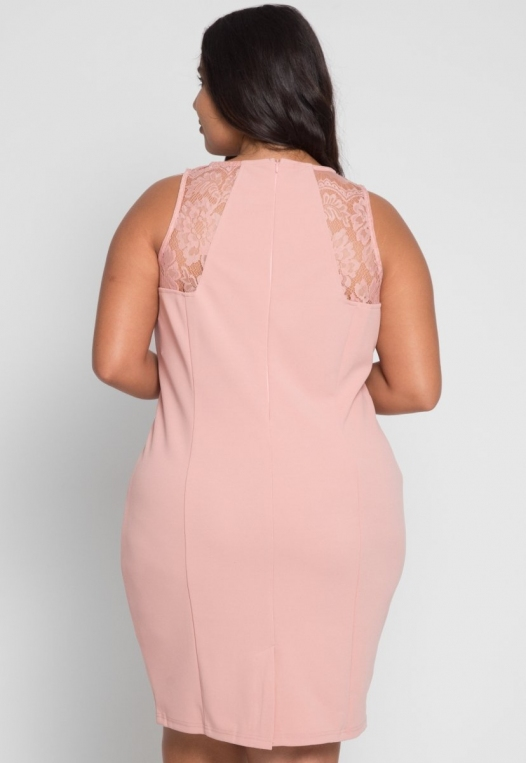 Plus Size Soiree Fitted Dress in Blush alternate img #3