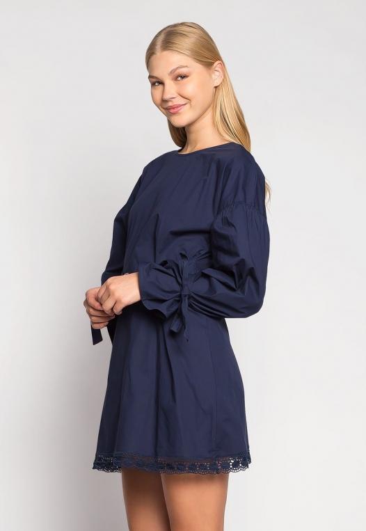 Under the Moonlight Crochet Hem Belted Dress alternate img #3